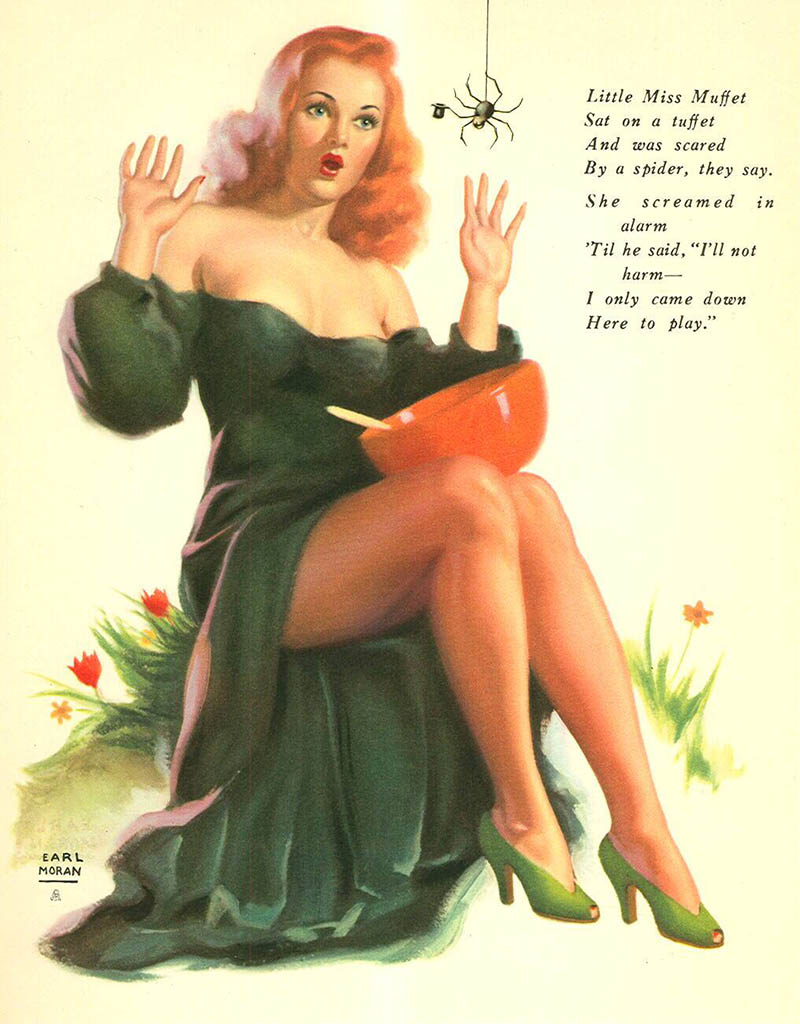 "Эрл Моран (Earl Moran), ""Little Miss Muffet ..."""