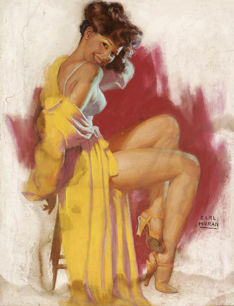 """Эрл Моран (Earl Moran), """"Girl with Yellow Robe"""""""