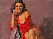"Эрл Моран (Earl Moran), ""Seated Brunette in a Red Robe"""