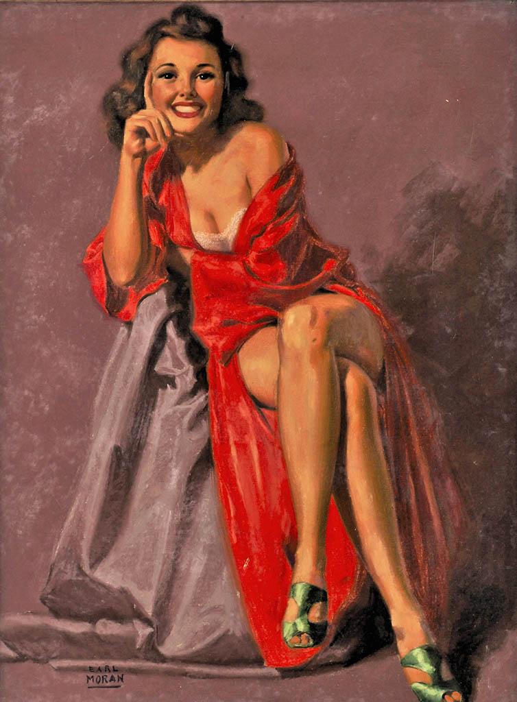 "Эрл Моран (Earl Moran), ""Seated Brunette in a Red Robe"""