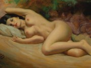 """Эрл Моран (Earl Moran), """"Reclining Nude. Brunette"""""""