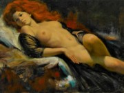 "Эрл Моран (Earl Moran), ""Reclining Nude Red Head"""