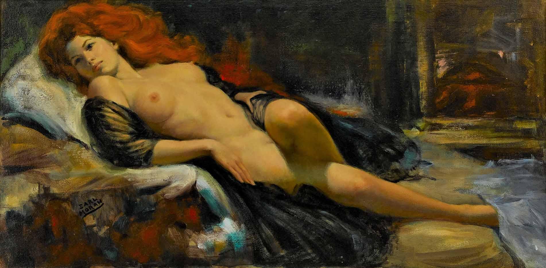 "Эрл Моран (Earl Moran), ""Reclining Nude Red Head"""