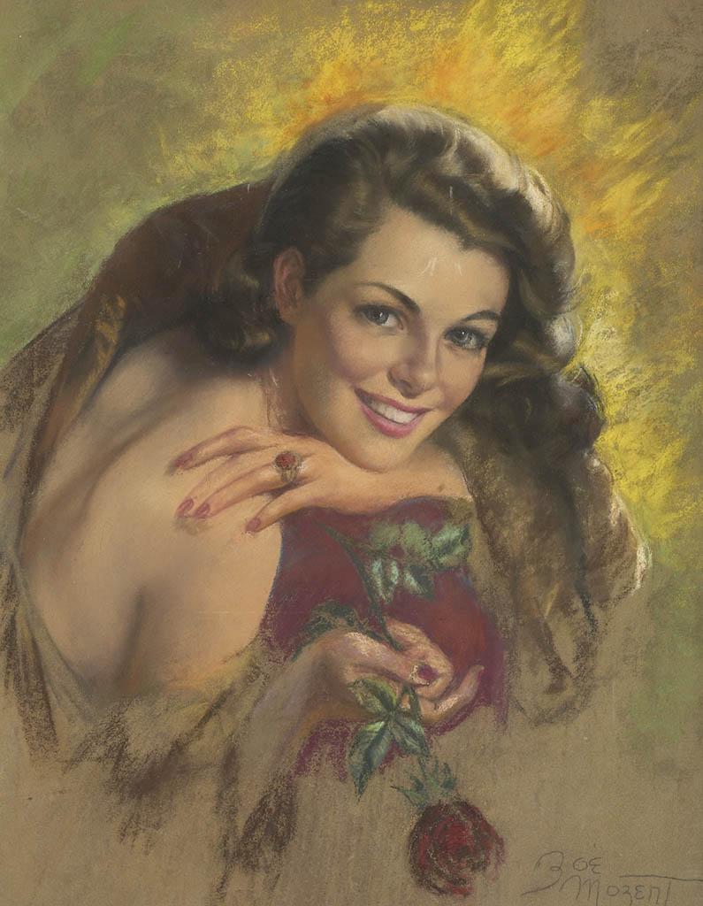 "Зои Мозерт (Zoe Mozert), ""Brunette with Red Rose"""