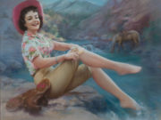 "Зои Мозерт (Zoe Mozert), ""Cowgirl with Toes in the Stream"""