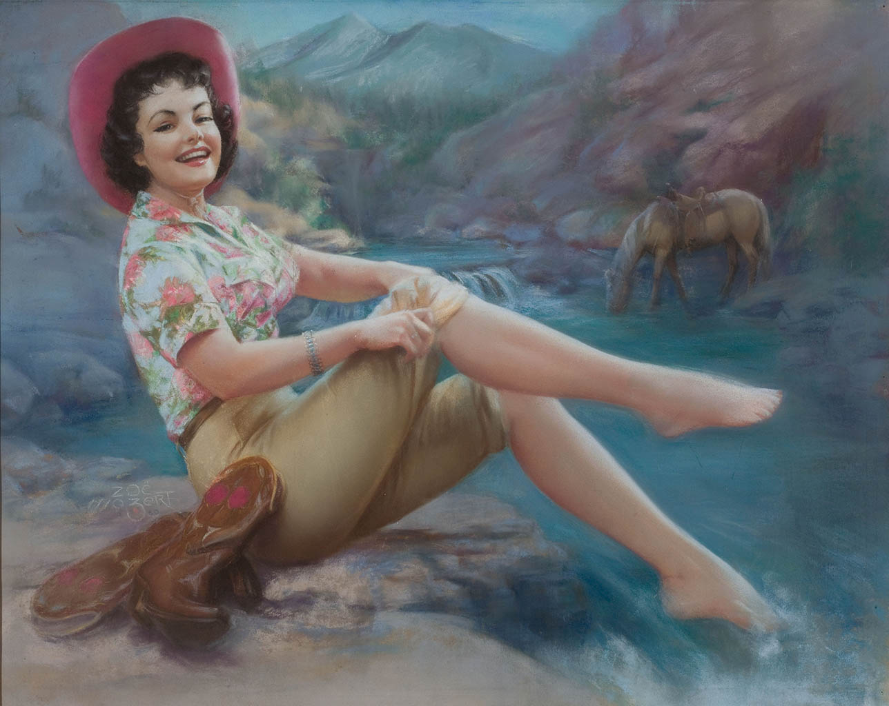 """Зои Мозерт (Zoe Mozert), """"Cowgirl with Toes in the Stream"""""""