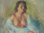 "Зои Мозерт (Zoe Mozert), ""Seated Brunette, Bare Breasts"""