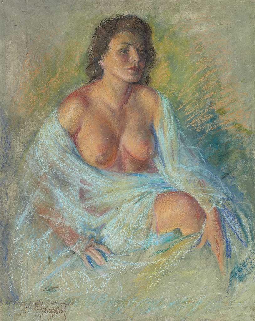 "Зои Мозерт (Zoe Mozert), ""Seated Brunette, Bare Breasts"""