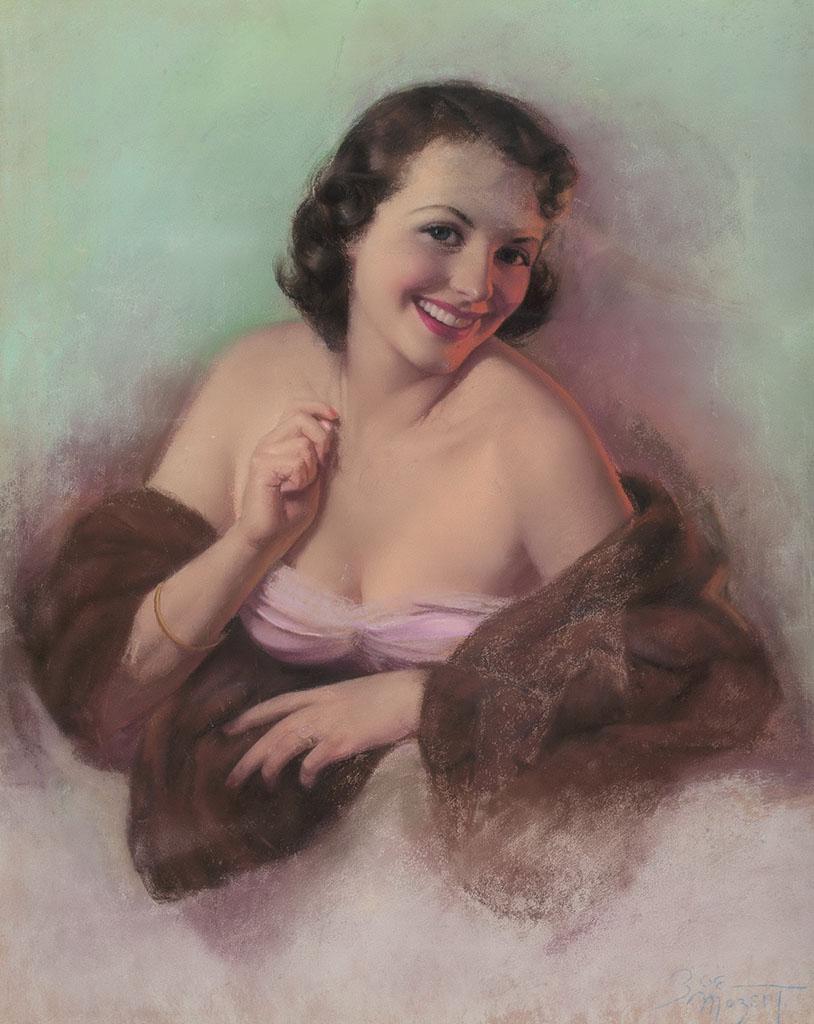 """Зои Мозерт (Zoe Mozert), """"Brunette in a Fur Wrap"""""""