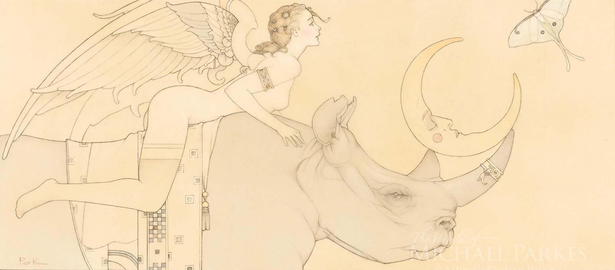 """Майкл Паркес (Michael Parkes) """"Dream of the Lunar Moth (Drawing)"""""""