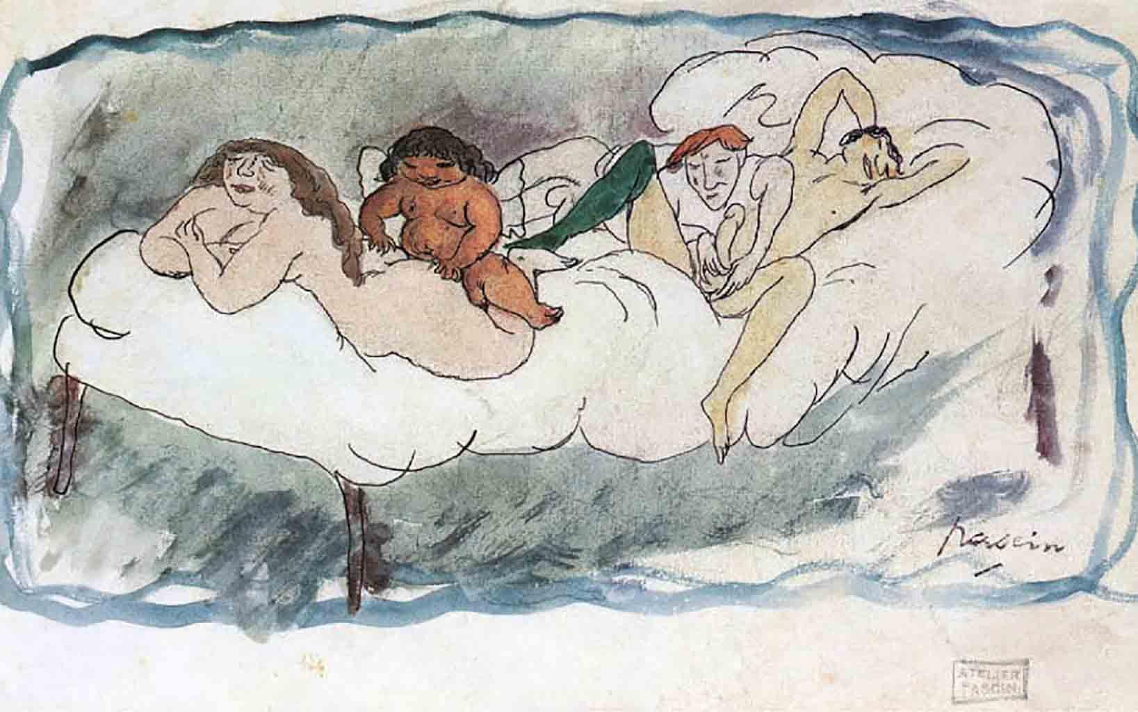 """Жюль Паскин (Jules Pascin) """"Quatre personnes sur un lit"""""""