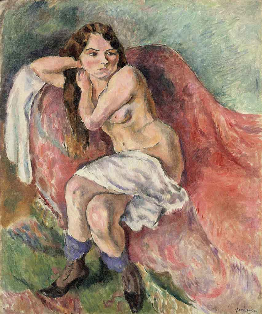 "Жюль Паскин (Jules Pascin) ""Suzanne Sitting on a Couch"""