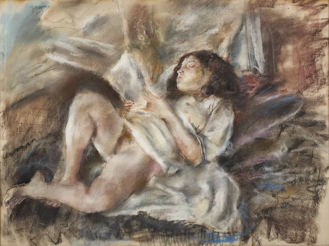 "Жюль Паскин (Jules Pascin) ""Nude Reading"""