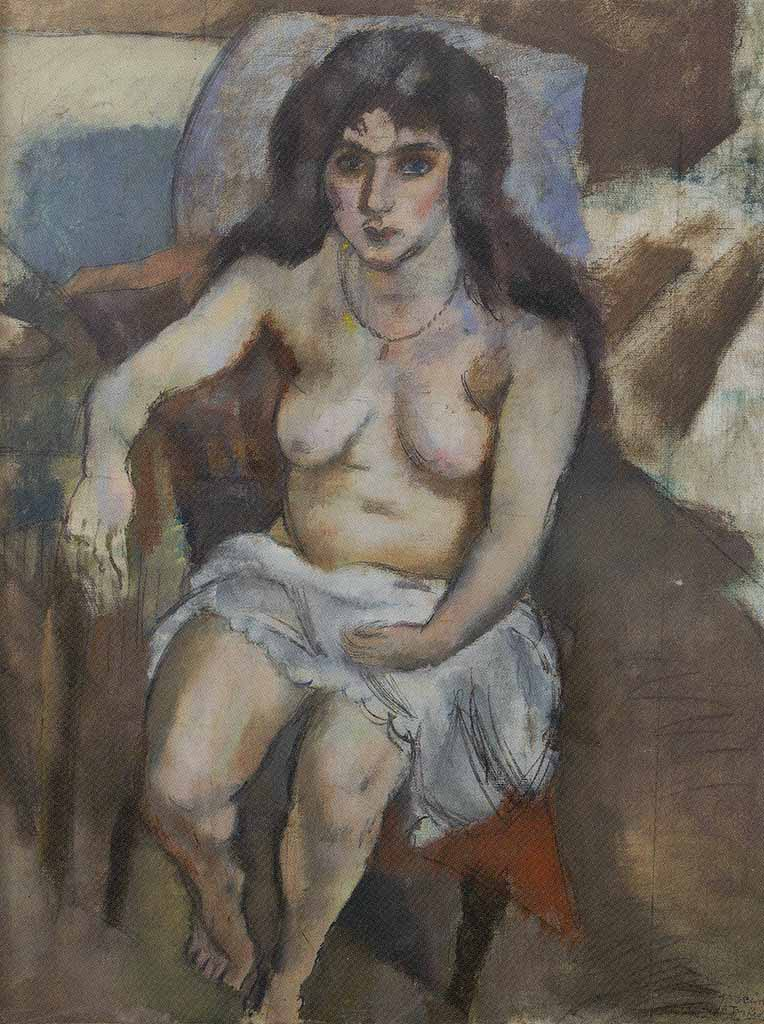 "Жюль Паскин (Jules Pascin) ""A Woman with Blue Eyes"""