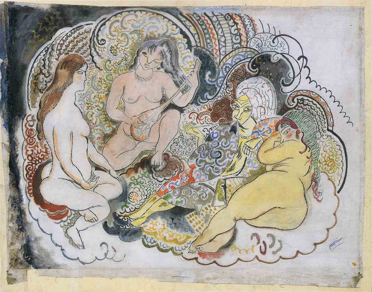 "Жюль Паскин (Jules Pascin) ""An Oriental and His Wives"""