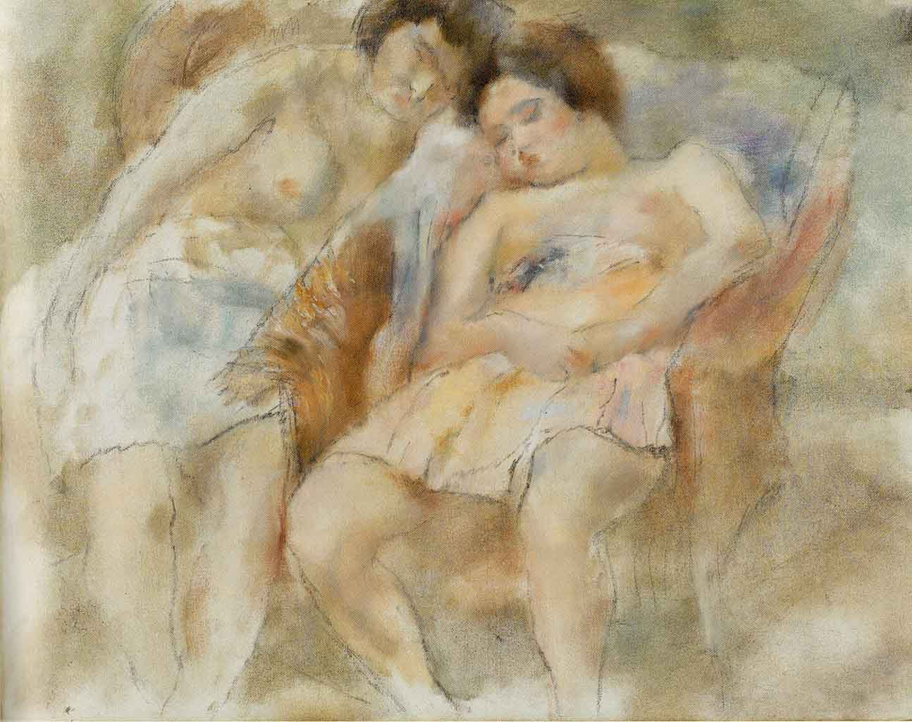 "Жюль Паскин (Jules Pascin) ""Two Sleeping Girls"""