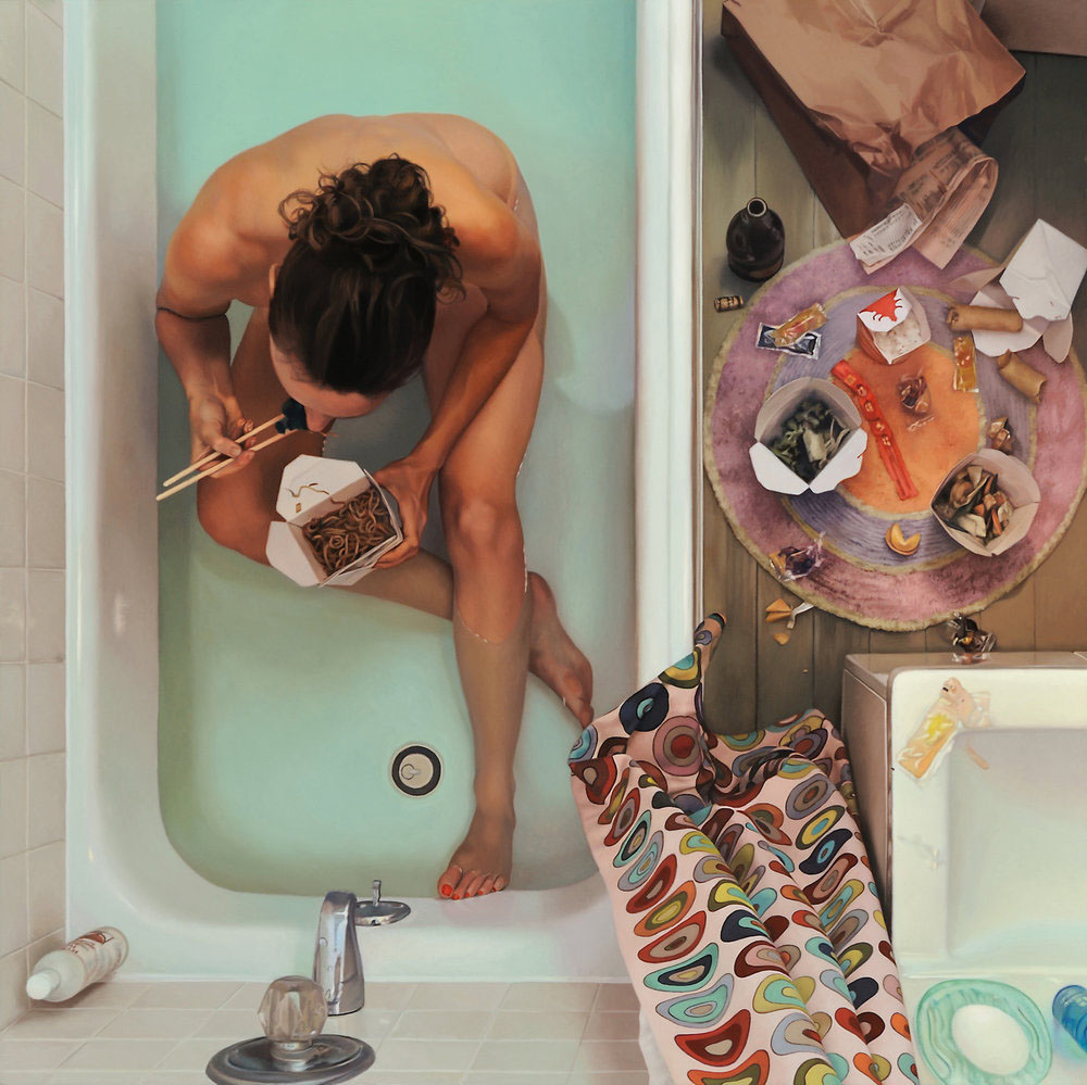 Ли Прайс (Lee Price), Self Portrait in Tub with Chinese Food