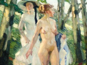 "Лео Путц (Leo Putz) ""Two girls in the woods"""