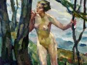 "Лео Путц (Leo Putz) ""Обнаженная с деревьями | Weiblicher Akt mit Baumen"""