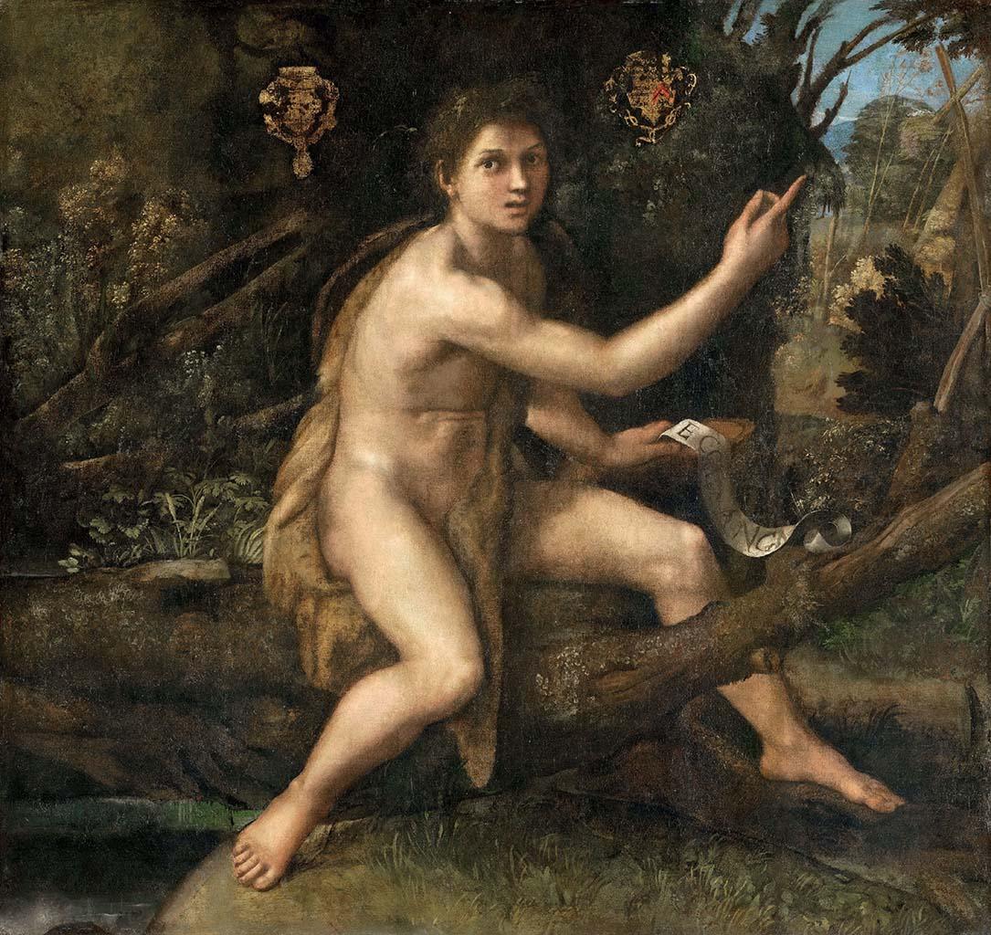 """Рафаэль Санти (Raphael, Raffaello Santi) """"Иоанн Креститель, указывающий на крест"""""""