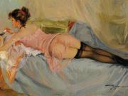 "Константин Разумов (Konstantin Razumov), ""Elegante allongee en neglige"""