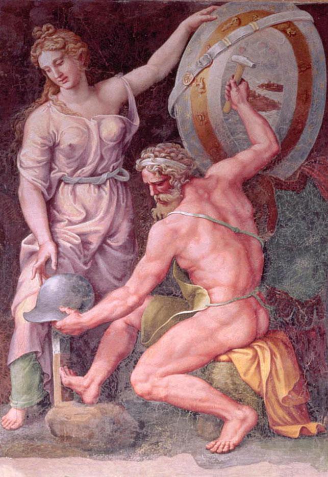 "Джулио Романо (Giulio Romano) ""Вулкан куёт доспехи для Ахилла"""