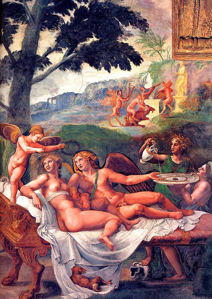 """Джулио Романо (Giulio Romano) """"Амор и Психея на диване (Фреска)"""""""