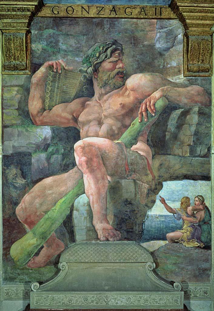 """Джулио Романо (Giulio Romano) """"Гигант Полифем, Галатея и пастух Ацис (Фреска)"""""""