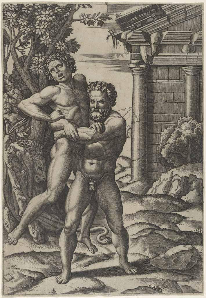 "Джулио Романо (Giulio Romano) ""Hercules holding Antaeus by the waist"""