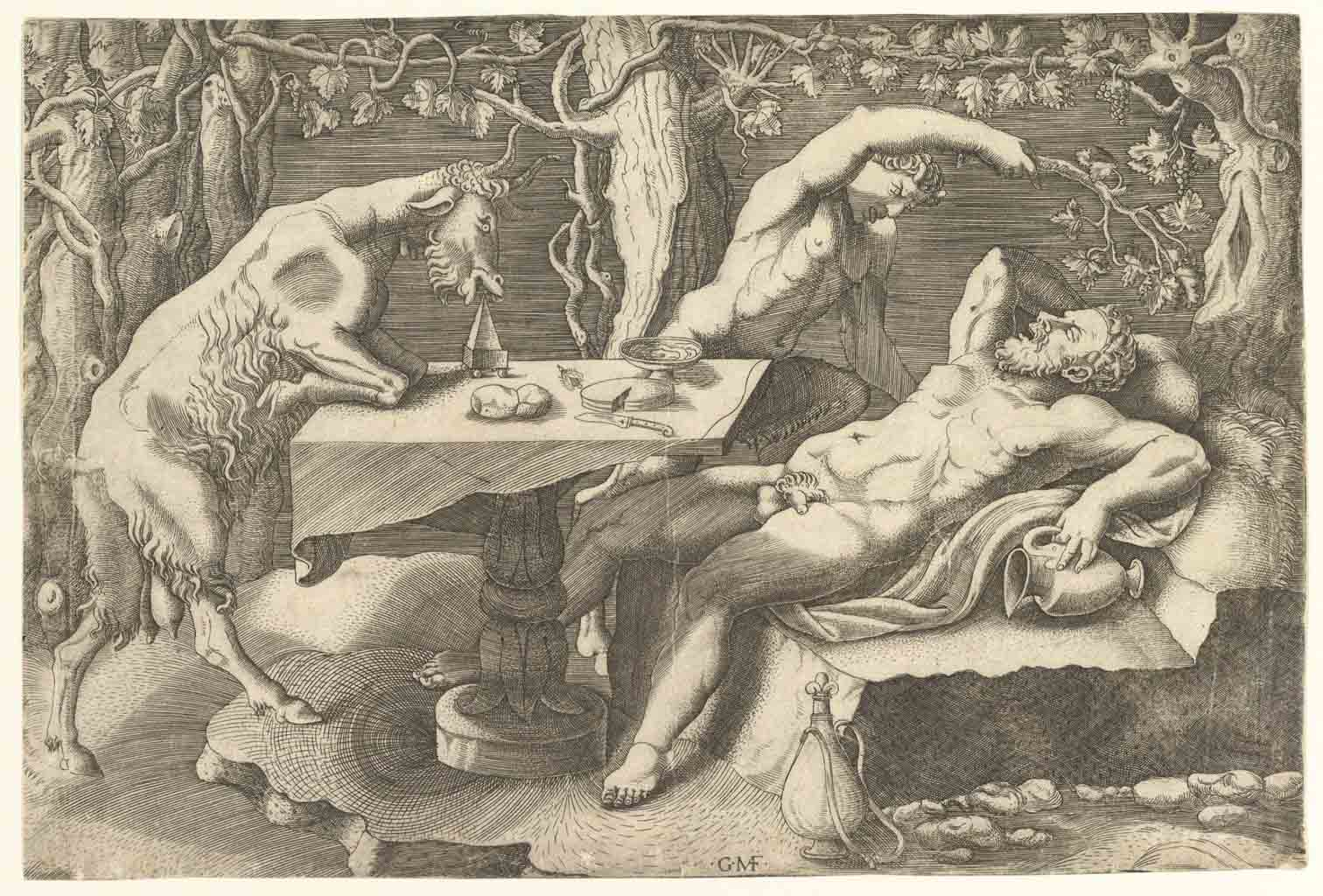 "Джулио Романо (Giulio Romano) ""Silenus sleeping at right, taunted by a Satyr, and ..."""