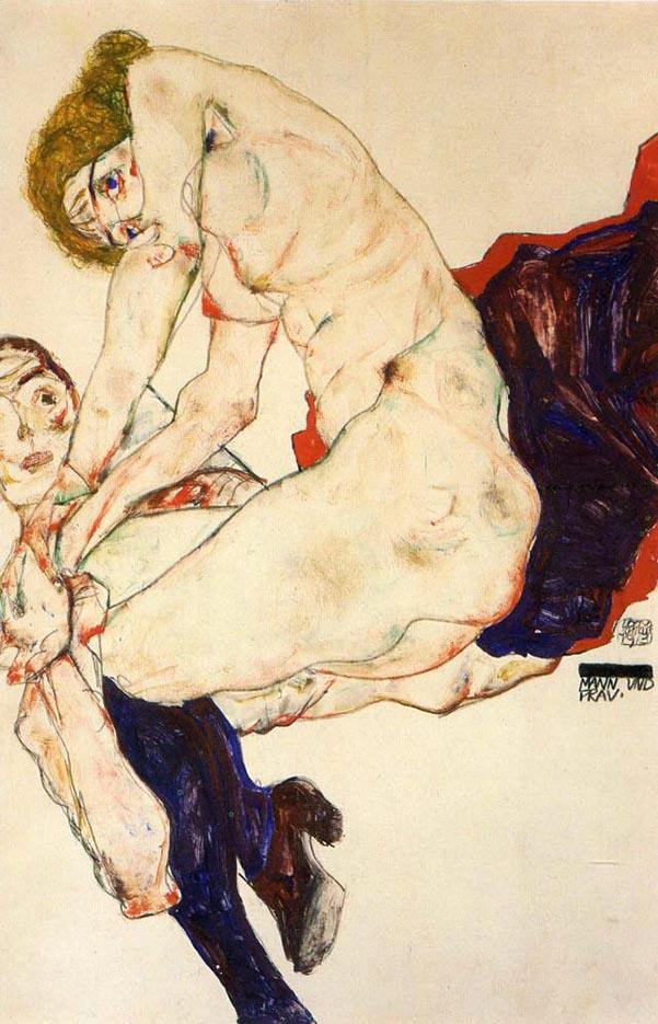 "Эгон Шиле (Egon Schiele), ""Мужчина и женщина"""