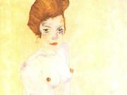 """Эгон Шиле (Egon Schiele), """"Seated girl with bare torso and light blue skirt"""""""