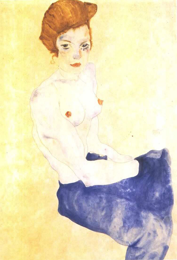"Эгон Шиле (Egon Schiele), ""Seated girl with bare torso and light blue skirt"""