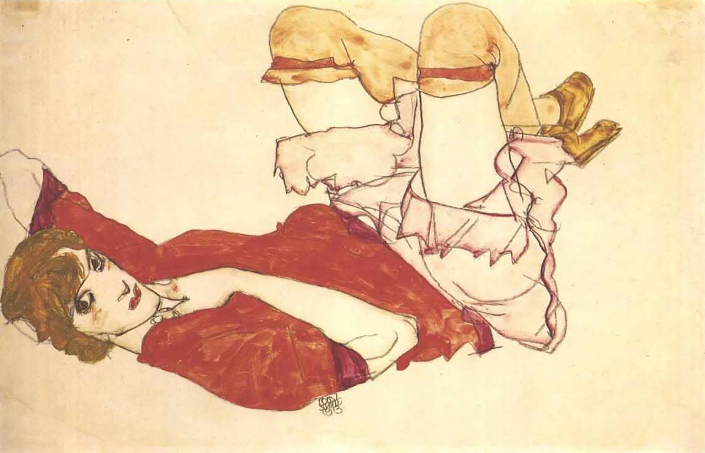 """Эгон Шиле (Egon Schiele), """"Валли в красной блузке"""""""