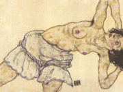 "Эгон Шиле (Egon Schiele), ""Kneeling female semi nude, bended to the right side"""
