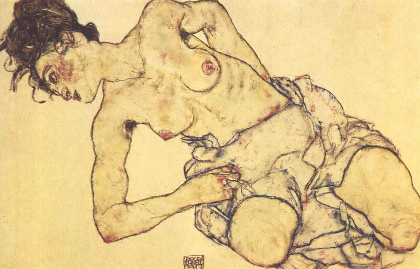 "Эгон Шиле (Egon Schiele), ""Female semi nude, kneeling"""