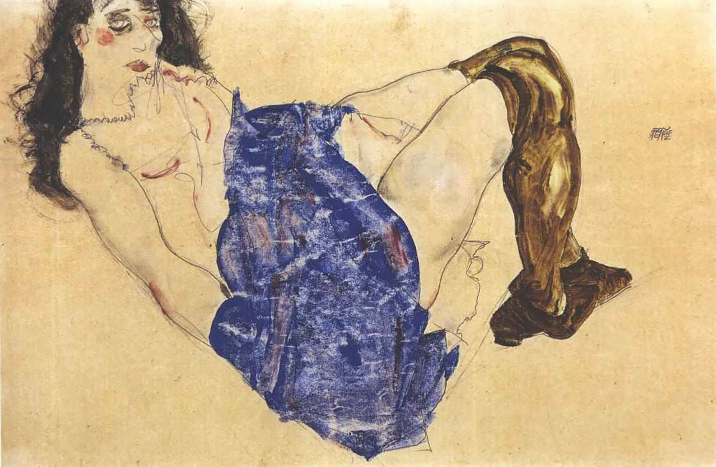 "Эгон Шиле (Egon Schiele), ""Female nude with black hair and blue cloth over the hip"""