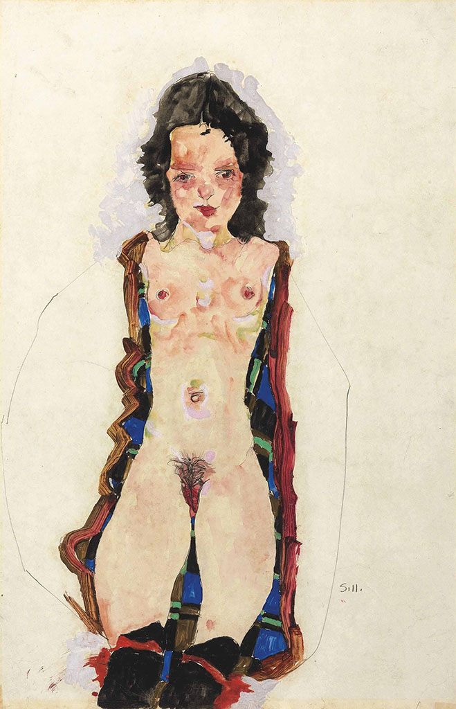 "Эгон Шиле (Egon Schiele), ""Nude with Red Garters"""