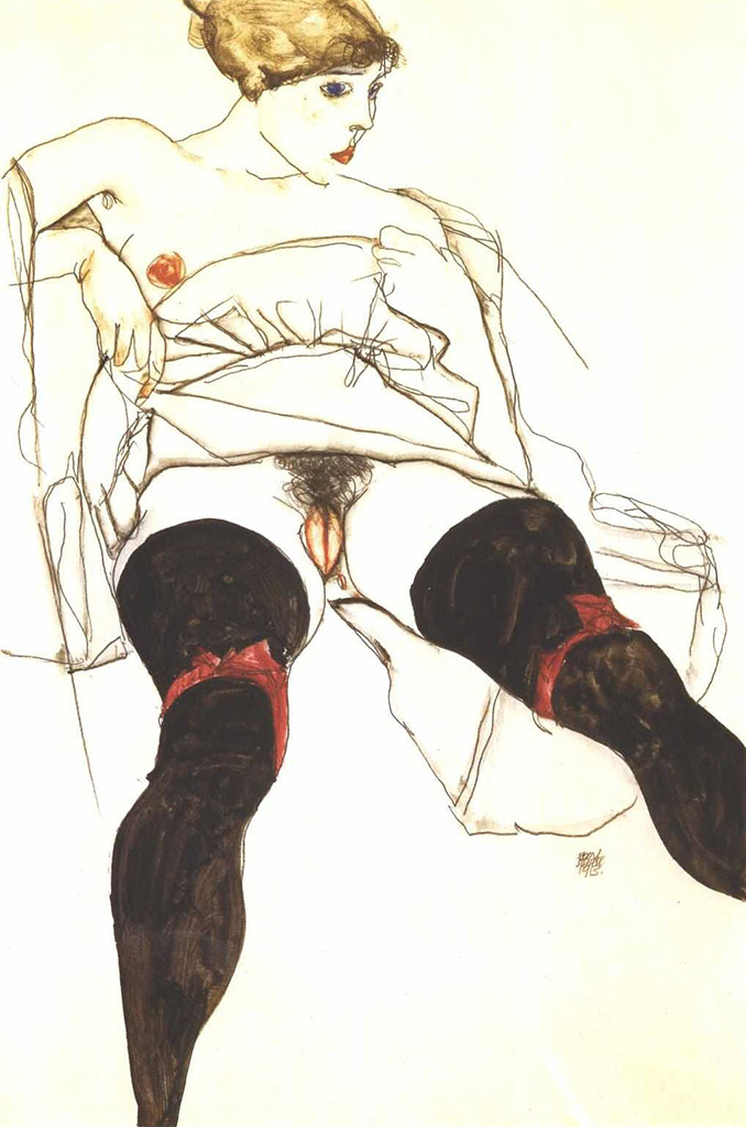 "Эгон Шиле (Egon Schiele), ""Reclining woman with black stockings"""