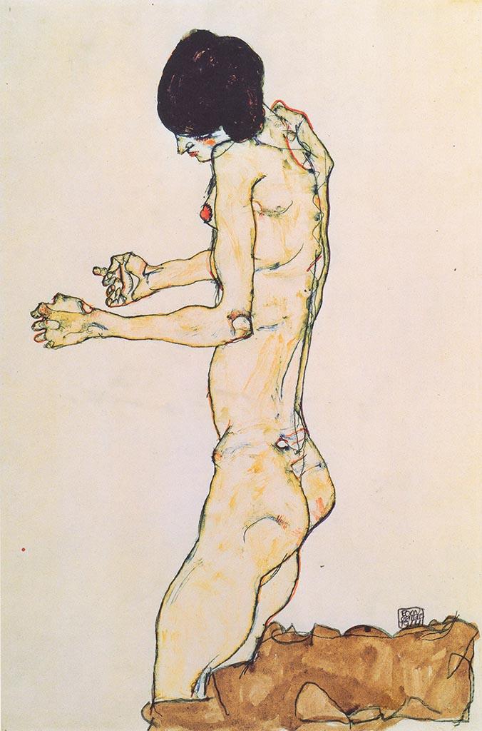 """Эгон Шиле (Egon Schiele), """"Kniender Frauenakt mit vorgestreckten Armen"""""""