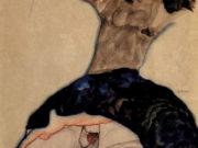 """Эгон Шиле (Egon Schiele), """"Schwarzhaariges Madchen mit hochgeschlagenem Rock"""""""