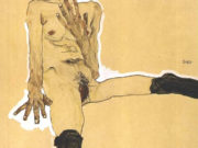 "Эгон Шиле (Egon Schiele), ""Sitting female nude with black stockings"""