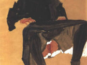 """Эгон Шиле (Egon Schiele), """"Liegendes Madchen in dunkelblauem Kleid"""""""