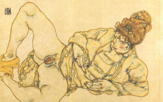 "Эгон Шиле (Egon Schiele), ""Reclined female nude"""