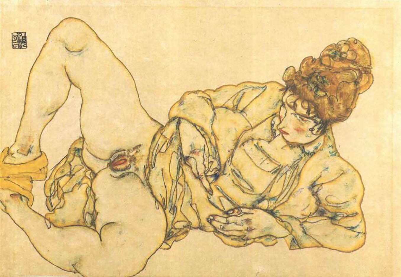 "Эгон Шиле (Egon Schiele), ""Reclined female nude"""