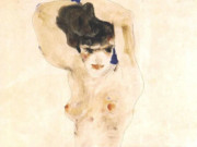 "Эгон Шиле (Egon Schiele), ""Seated female nude with arms crossed above the head"""