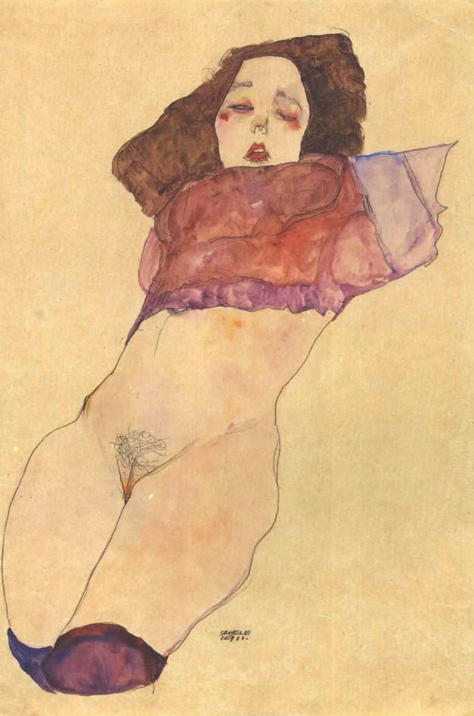 "Эгон Шиле (Egon Schiele), ""Woman with naked abdomen"""
