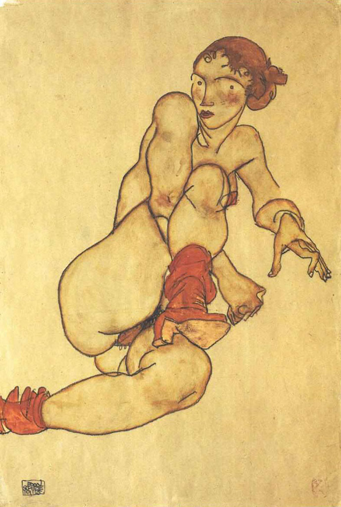 "Эгон Шиле (Egon Schiele), ""Female nude with pulled up rigth leg"""