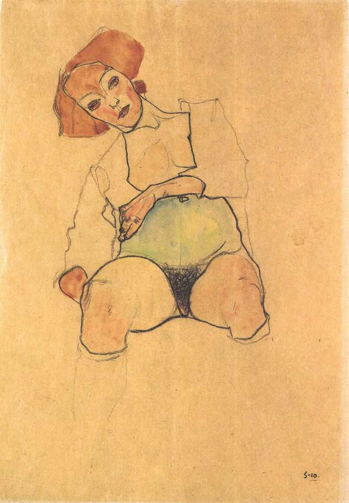 "Эгон Шиле (Egon Schiele), ""Pregnant Nude with green belly"""