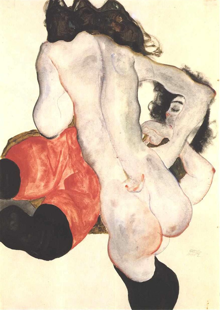 "Эгон Шиле (Egon Schiele), ""Lying woman with red trousers and female nude"""